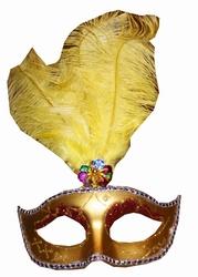 """Venetiaanse oogmasker met veren   """" Goud / geel """""""