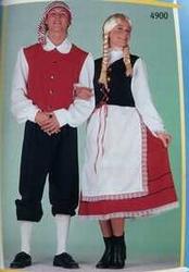 "Tiroolse  "" Zwart / wit / rood "" lang"