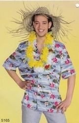 """Hawaii blouse  """" Blauw met roze bloemen """""""