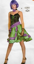 """Can can jurk  """" Zwart / groen / paars """""""