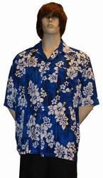 """Hawai blouse  """" Blauw met bloemen """""""