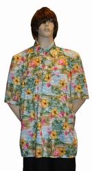 """Hawai blouse  """" Groen / blauw / roze met bloemen """""""