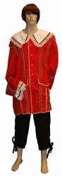 """Musketiers kostuum  """" Luxe """"  Rood / zwart"""