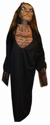 Kostuum griezelige vrouw met masker en handen