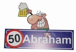 """Huldebord  """" 50  Abraham """" met afbeelding"""