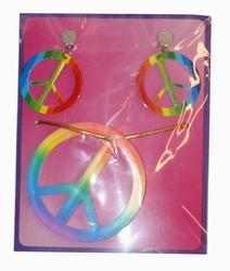 """Ketting + oorbellen  """" Peace """"  Multi"""