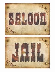 "2 Western poster "" Jail & saloon """